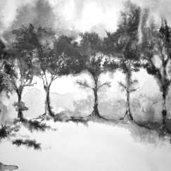 """""""Too Many Trees"""" - Ink on canvas - SOLD"""