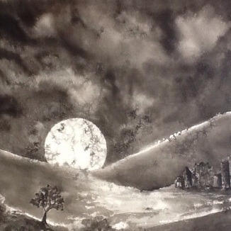 """Moonrise Over an Open Field"" - Ink on paper"