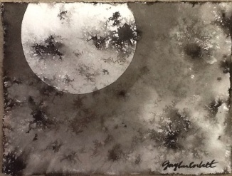 """Lunar Experiment #1"" - 5x7 - Ink on paper - SOLD"
