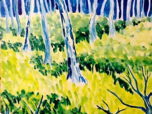 """""""Alone in the Forest"""" - Watercolor on board"""