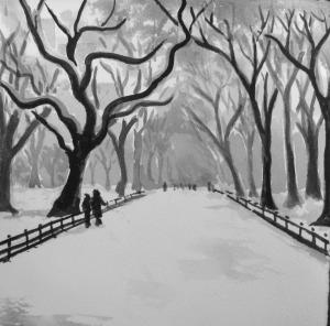 """""""Walk in Winter"""" - 6x6 - Watercolor"""