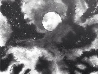 """""""Looking at the Stars"""" - 16x20 - India ink on canvas [SOLD]"""
