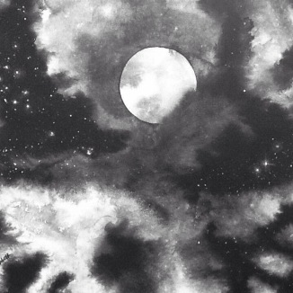 """Looking at the Stars"" - 16x20 - India ink on canvas [SOLD]"