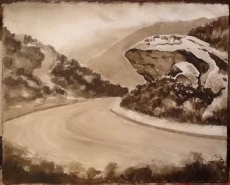 """Shark Rock"", Park Ave., Laguna Beach. Ink on paper."