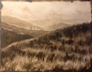 """""""Vintage View of the Canyon,"""" ink on paper."""