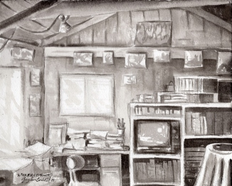"""A Perfect Room""- 8x10 - India ink on watercolor paper"