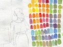 Sketch of Doris Day, next to color mixing chart. These images are not related, they just happen to be on the same scrap of paper.
