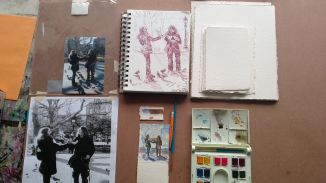 This photo shows my process including photograph, pencil sketch and color study.