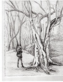 "Sketch for ""A Little Bit Lost"" (under-painting). We were indeed a little bit lost in Central Park on this rainy day."