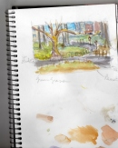 """Theodore Roosevelt Park, NYC. Color study for """"Walk in the Park"""""""