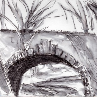 Under the bridge, sketching by myself on a rainy day. What could be better?