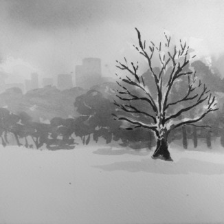 """City in the Snow"" - 6x6 - India ink on watercolor paper"