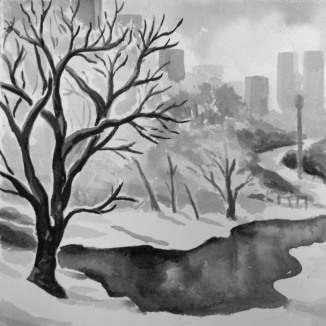 """Cold Day in the Park"" - 6x6 - India ink on watercolor paper [SOLD]"