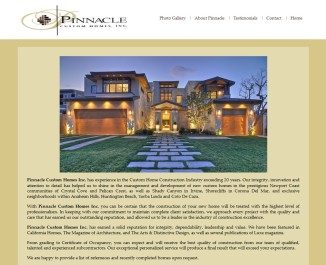 Website Design: Pinnacle Custom Homes