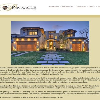 Website Design: Pinnacle Custom Homes