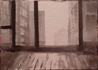 """Room with a View""- - 4x6 - India ink on watercolor paper"