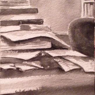 """""""Einstein's Desk"""" - 4x6 - [SOLD]"""
