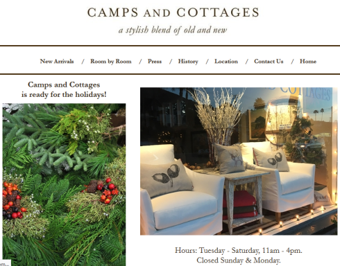 Website Design: Camps and Cottages, retail store in Laguna Beach