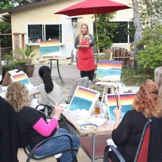 Teaching a painting class