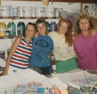 The art department at Bardot Collection warehouse circa 1988.